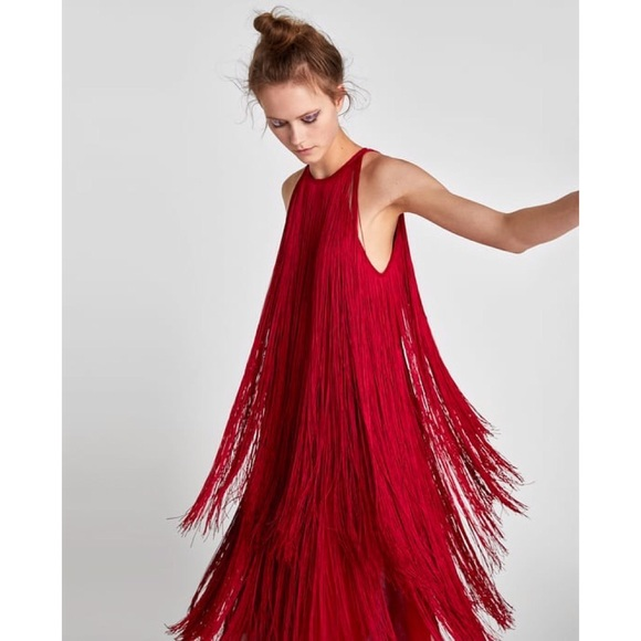 zara dresses rare red fringe dress poshmark